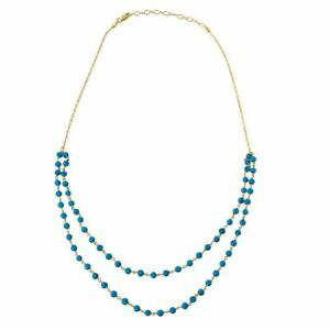 925 STERLING SILVER DOUBLE STRAND NECKLACE W/ TURQUOISE BEADS / 18'' CHAIN