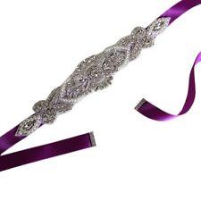 Rhinestone Bridal Waist Belt Ribbon Satin Trim Applique Wedding Dress Gown Decor