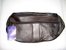 GENUINE LARGE LEATHER FANNY PACK POUCH WAIST BAG / BROWN WITH 3 ZIP COMPARTMENTS