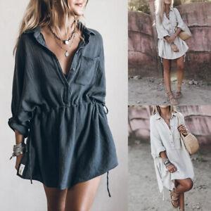 Womens Oversized Long Sleeve Mini Shirt Dress Ladies V Neck Casual Tunic Tops