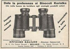 Z0578 Binocoli Koristka Officine Galileo - Pubblicità del 1930 - Advertising