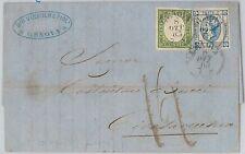 53829  - ITALIA REGNO - Storia Postale: Sass 13 + SARDEGNA su BUSTA 1863