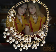 2 Broke Girl Caroline Inspired Lucky Gold Cream Pearl Pendant Chain necklace