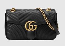 New Gucci Black Supermini GG Marmont 2.0 Matelassé Leather Shoulder Bag