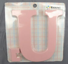 """Kidkraft Hand Painted Wooden Wall Hanging Initial Letter U - Pink - 8"""" Tall"""