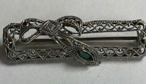 Vintage 14K White Gold Filigree Bar Pin Brooch w/Green Stone and diamond