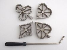 VTG Rosette Cookie Irons Set/4 Molds with Handle Heart Spade Diamond Club Bridge