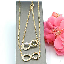 Women's 14K Gold Color Infinity Love SET. Necklace - Bracelet. Valentine's Gift