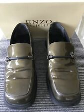 Enzo Angiolini Metallic Bronze Green Patent Leather Loafer Rubber Sole Pre-owned