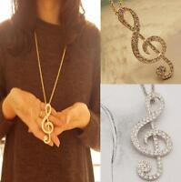 New Women Gold Crystal Music Note Rhythm Long Chain Sweater Necklace Pendant HOA