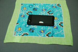 RODA pocket square handkerchief lime and blue floral 80% linen 20% ramie