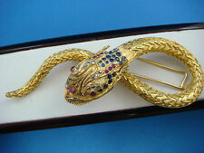 EXQUISITE LALAOUNIS 18 K. LARGE DRAGON BROOCH  DIAMONDS RUBY SAPPHIRES 41.2 GRAM