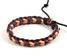 Handmade Surfer Leather Hemp Multi Color Friendship Bracelet #192