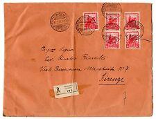 1939 REGNO 2 COPPIE 75 CENTESIMI + SINGOLO SU RACCOMANDATA DA TRIESTE C/4289