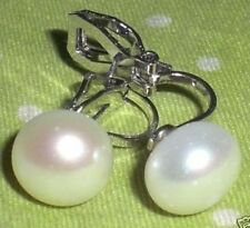 WHITE round freshwater PEARL CLIP ON classic EARRINGS
