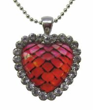 Dragon egg / mermaid scales heart pendant necklace - with chain and jewelry bag