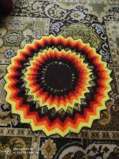 Napperon Vintage en laine au crochet ORANGE blanc coloré 60/70'S couvre coussin