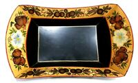 BEAUTIFUL VINTAGE FLORAL FRUIT & GOLD TOLE PAINTED METAL BREAD TRAY PWW P W W 75