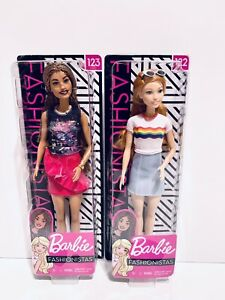 "Lot 2 Barbie Fashionistas 12"" Doll With Unique Fashion And Accessories Dolls NEW"