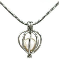 """Pick a Pearl Heart Locket Pendant Bead Cage 22"""" Steel Snake Chain S-KP64"""