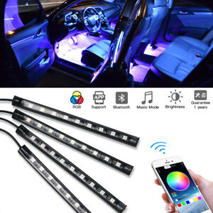 4x RGB LED Neon Light Strip Car Interior Footwell Seat Inside Lamp USB Bluetooth