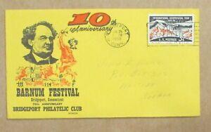 "COVER CACHET 1958 ""ERROR 70th or 10th ??? ANNIVERSARY CACHET ""BARNUM FESTIVAL """