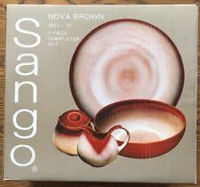 NEW Sango Nova Brown Stoneware Completer Set Dishes Platter/Bowl/Sugar/Creamer