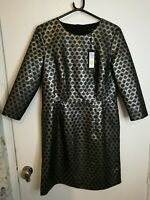 M&S Marks and Spencer's SILVER BLACK BROCADE DRESS Autograph UK sz 12 BNWT £75