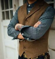 Mens Vintage Wool Blend Tweed Collared Tailored Retro Chic Lapel Waistcoat Vest