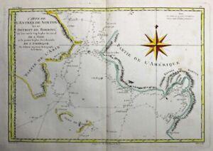 1788 Important Bonne Map of Alaska, Bering Strait