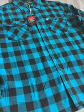 PINK DOLPHIN WAVES FLANNEL BUTTON UP SHIRT IN BLUE/BLK SZ 2X !! NEW !!!