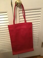 Lord And Taylor Elongated Tote Bag Red Pebbled Faux Leather Look Man Made Trendy