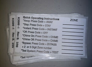 NEW Honeywell Ademco Keypad Zone List Sticker 6150 6160 ++