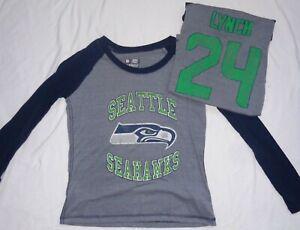 Seattle Seahawks Football Marshawn Lynch Ladies Fitted Long Sleeve T-Shirt