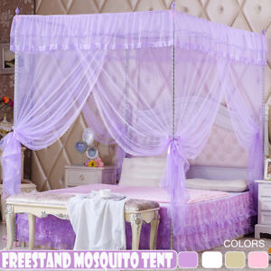 Netting Curtain Mosquito Nets Lace Insect Repellent Bed Canopy Four Corner   *#