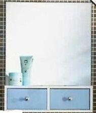 MIAMI 2 DRAWER MIRROR WALL MOUNTED BATHROOM CABINET SHELF STORAGE BLUE & WHITE