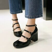 Ladies Mary Jane Mid Heels Round Toe Buckle Chunky Ankle Strap Roman Women Shoes