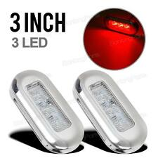 "2x 3"" Clear/Red Waterproof LED Oblong Courtesy Light Garden Accent Deck Lamp"