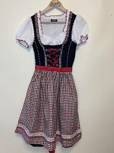 Wiesnkonig Dirndl Sz 34 XS Dress Black Floral Check Lace Up Oktoberfest
