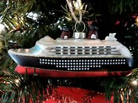 Pottery Barn Cruise Ship Christmas Ornament Glass Hand Painted Glitter Travel