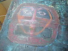 #498 VINTAGE NATIVE MASK PRIMITIVE OIL PAINTING CANVAS ESKIMO OR SOUTH AMERICAN