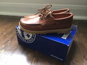 New Deadstock Birkenstock Devon in Brown Leather UK 8 EU 42 Moccasin Boat Shoe