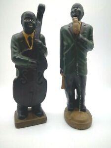 Vintage black jazz band group figurines musicians large pottery plaster figure