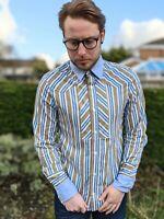 Designer Roberto Just Cavalli S-M Colourful Stripe Shirt Men's Slim Fit Smart