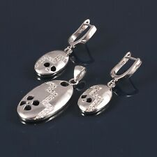 925 Sterling Silver Pendant  Women American Diamond Jewelry Earring Set 1015