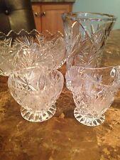 Vintage Lead Crystal  Set of 4- Serving Bowl Creamer Bowl and Vase