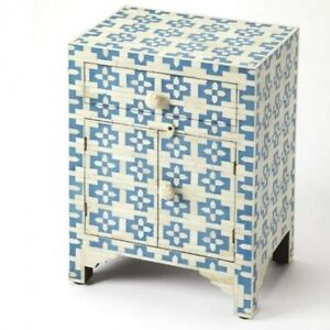 MADE TO ORDER Bone Inlay Indian Handicraft Bedside Cabinet Table Blue Geometric