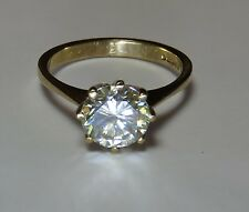 GENUINE MOISSANITE DIAMOND SOLITAIRE 9 CARAT SOLID YELLOW GOLD RING 7.75mm vvs2