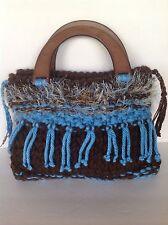Hand Knit Handmade Bag Purse Original Designer Fashion Tassels Hip Boho Chic