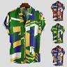 Summer Hawaiian Shirts Mens Geometric Short Sleeve Button T Shirt Collar Tee Top